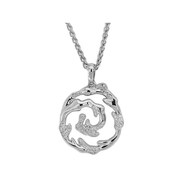 Sterling Silver Diamond Wave Pendant Sanders Diamond Jewelers Pasadena, MD