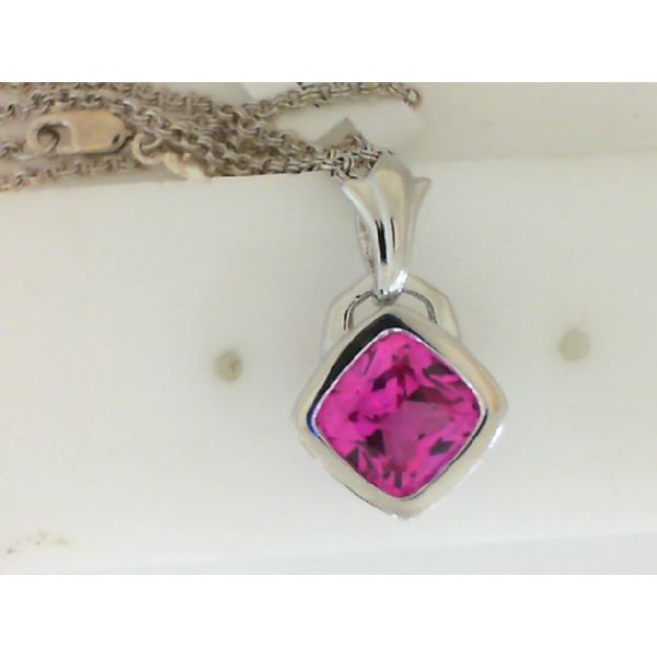 Sterling Silver Created Pink Sapphire Cushion Cut Pendant Sanders Diamond Jewelers Pasadena, MD