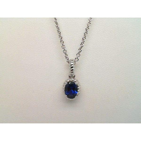 Sterling Silver Oval Created Sapphire Necklace Sanders Diamond Jewelers Pasadena, MD