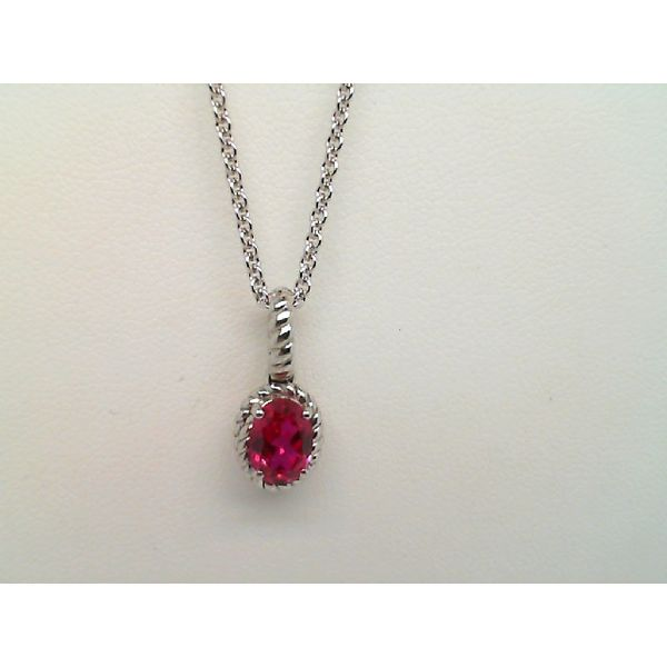 Sterling Silver Oval Created Ruby Necklace Sanders Diamond Jewelers Pasadena, MD