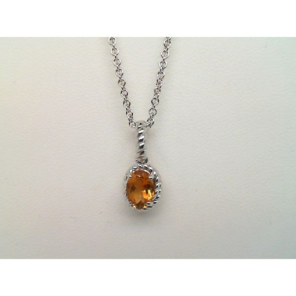 Sterling Silver Oval Citrine Necklace Sanders Diamond Jewelers Pasadena, MD