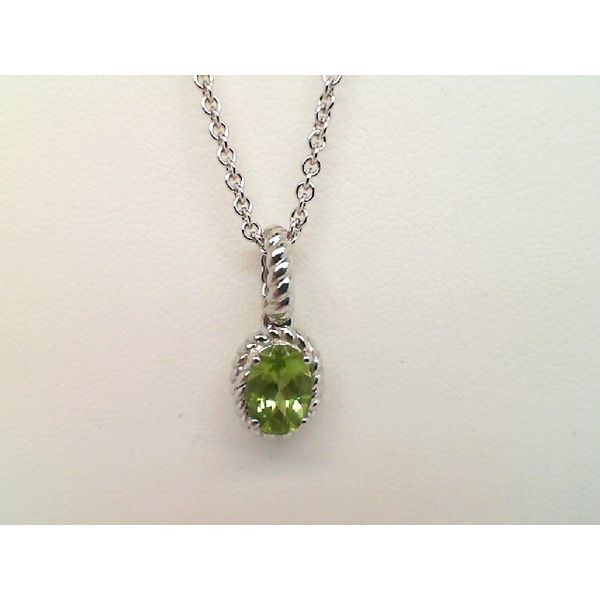 Sterling Silver Oval Peridot Necklace Sanders Diamond Jewelers Pasadena, MD