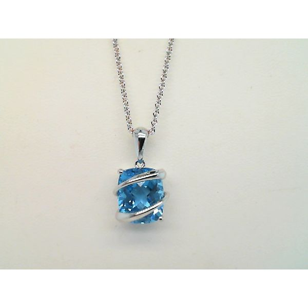 Sterling Silver Swiss Blue Faceted Cushion Cut Topaz Pendant Sanders Diamond Jewelers Pasadena, MD