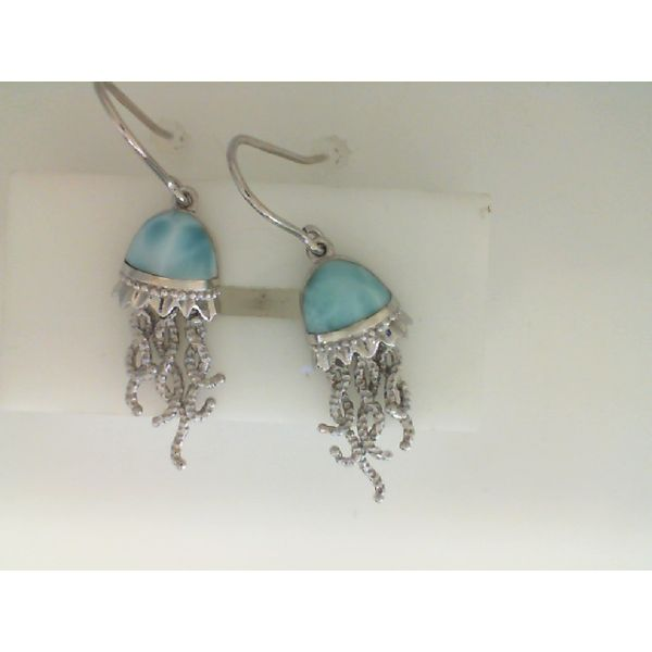Silver Silver Jellyfish Larimar Earrings Sanders Diamond Jewelers Pasadena, MD