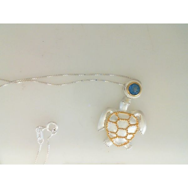 Sterling Silver & 22kt yellow Vermeil Turtle with Baby Blue Topaz Pendant Image 2 Sanders Diamond Jewelers Pasadena, MD