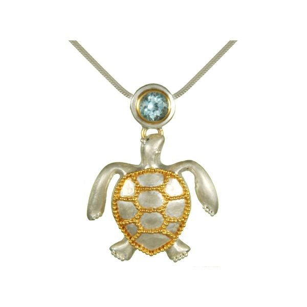 Sterling Silver & 22kt yellow Vermeil Turtle with Baby Blue Topaz Pendant Sanders Diamond Jewelers Pasadena, MD