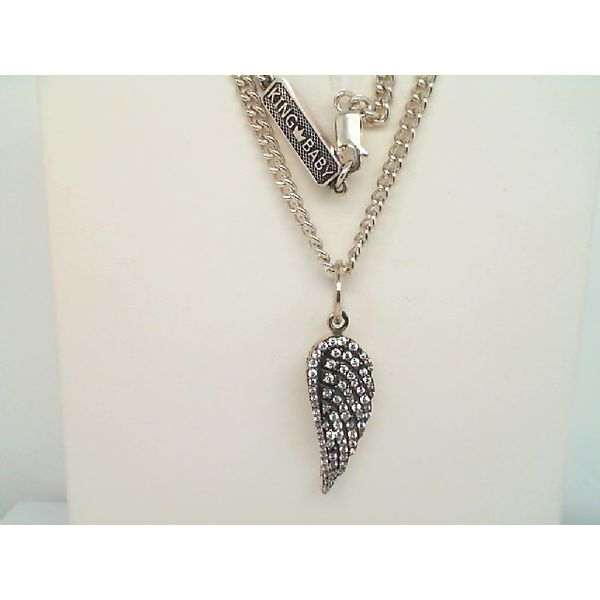 STERLING SILVER MEDIUM WING PENDANT WITH CZ STONES ON 18