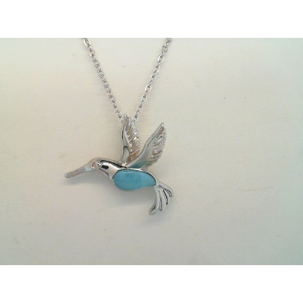 Sterling Silver Larimar Humming Bird Pendant Sanders Diamond Jewelers Pasadena, MD