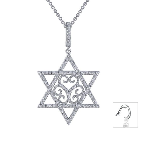 Old-fashioned elegance with modern-day charm. This Star of David pendant necklace is adorned with the designer's signature filig Sanders Diamond Jewelers Pasadena, MD