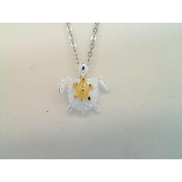 Sterling Silver With Yellow Gold Plating Mom/Baby Turtle Pendant Sanders Diamond Jewelers Pasadena, MD