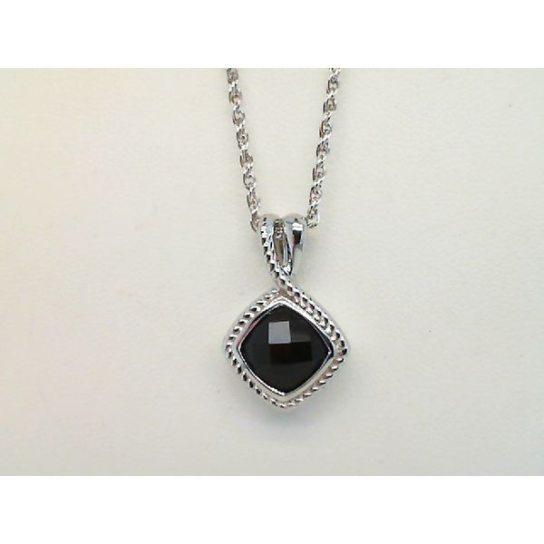 STERLING SILVER FACETED CUSHION CUT BLACK ONYX PENDANT ON 18