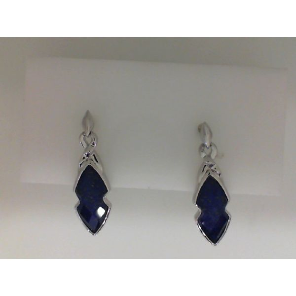 Sterling Silver Lapis And Clear Quartz Drop Earrings Sanders Diamond Jewelers Pasadena, MD