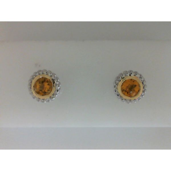 Sterling Silver And 18Kt Yellow Gold Bezel Set Round Citrine Earrings Sanders Diamond Jewelers Pasadena, MD