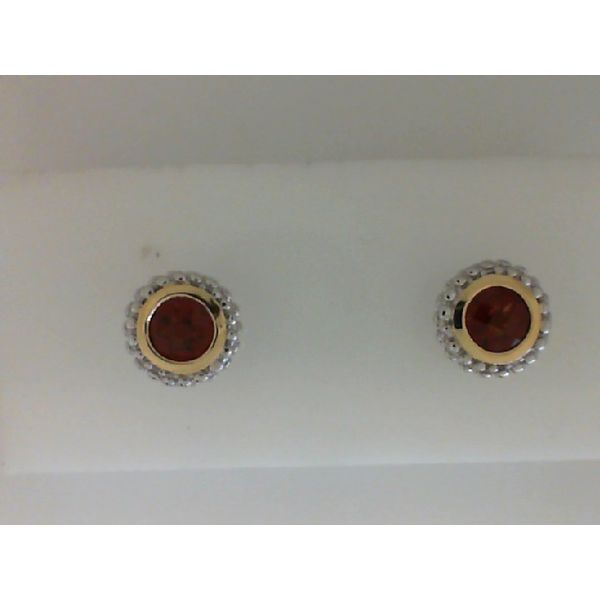 Sterling Silver And 18Kt Yellow Gold Round Garnet Bezel Set Stud Earrings Sanders Diamond Jewelers Pasadena, MD