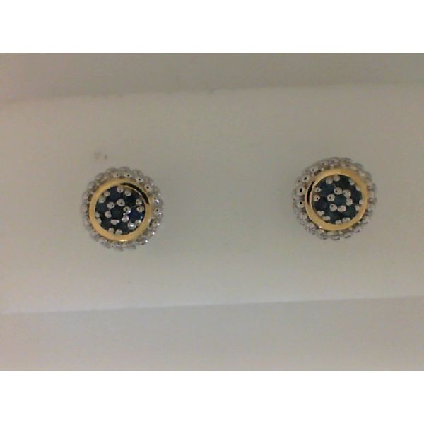 Sterling Silver And 18kt Yellow Gold Sapphire Earrings Sanders Diamond Jewelers Pasadena, MD