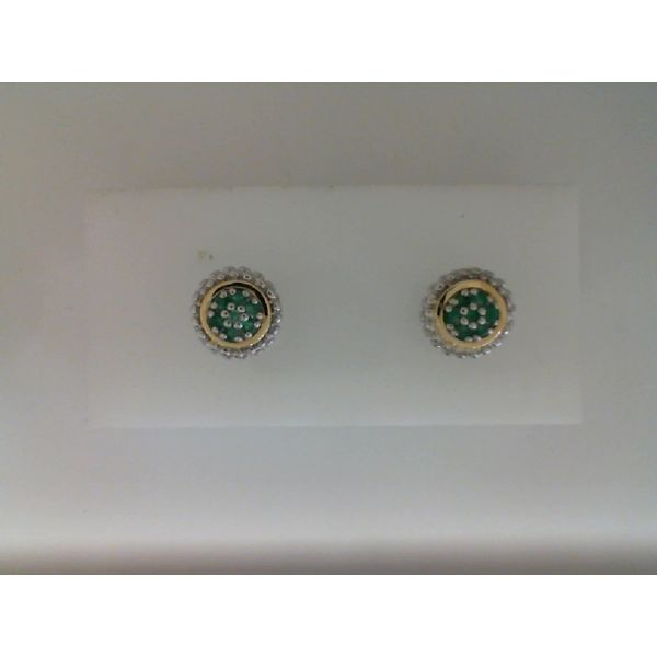 Sterling sterling And 18Kt Yellow Gold Emerald Stud Earrings Sanders Diamond Jewelers Pasadena, MD