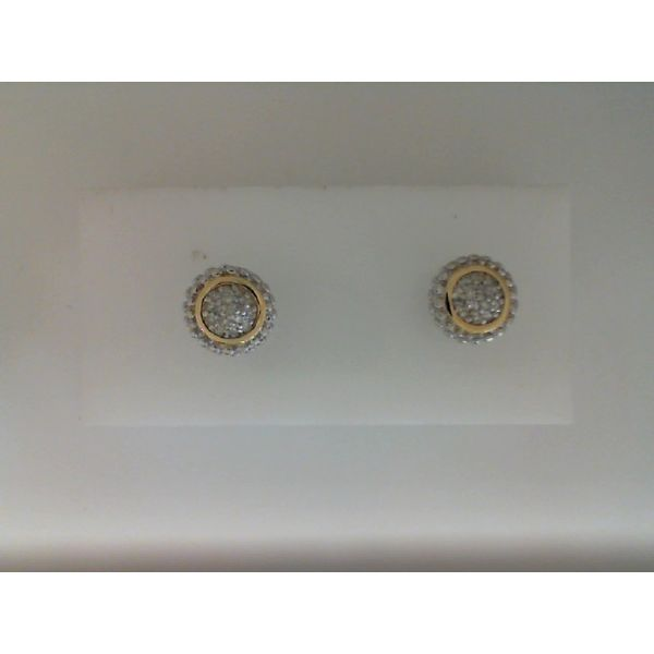 Sterling Silver And 18Kt Yellow Gold Diamond Stud Earrings Sanders Diamond Jewelers Pasadena, MD