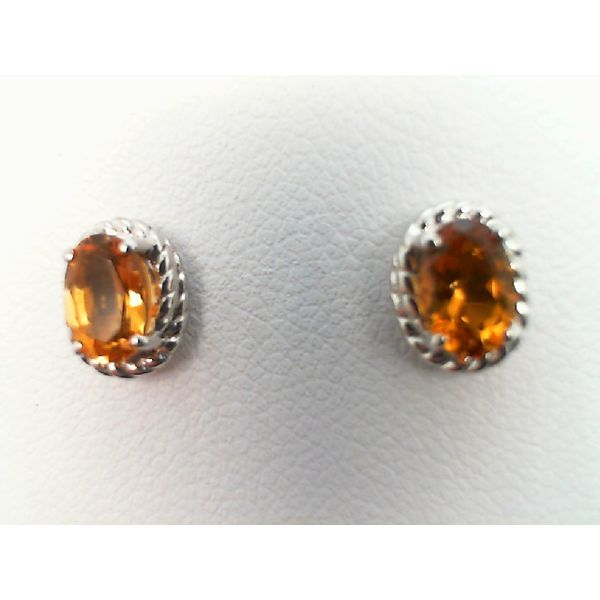 Sterling Silver Oval Genuine Citrine Earrings Sanders Diamond Jewelers Pasadena, MD