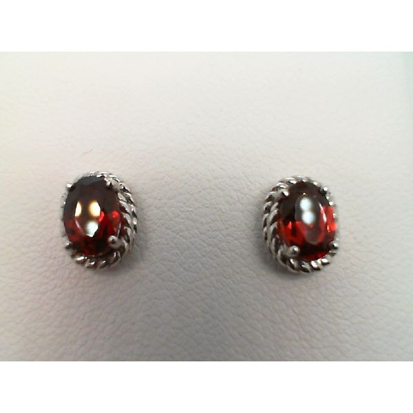 Sterling Silver Oval Genuine Garnet Stud Earrings Sanders Diamond Jewelers Pasadena, MD
