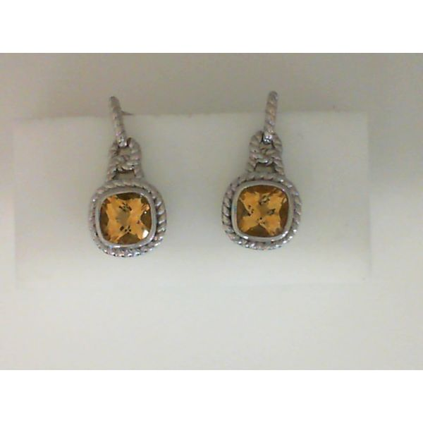 Sterling Silver Cushion Citrine Earrings Sanders Diamond Jewelers Pasadena, MD
