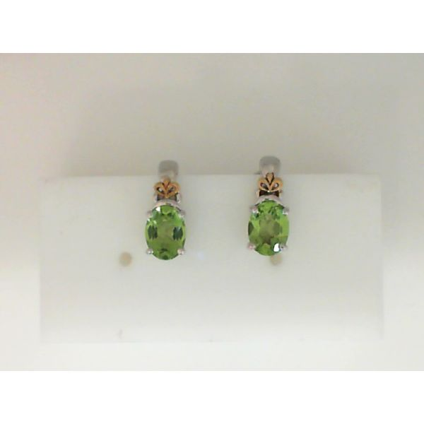 Sterling Silver And 18Kt Yellow Gold Oval Peridot Earrings Sanders Diamond Jewelers Pasadena, MD