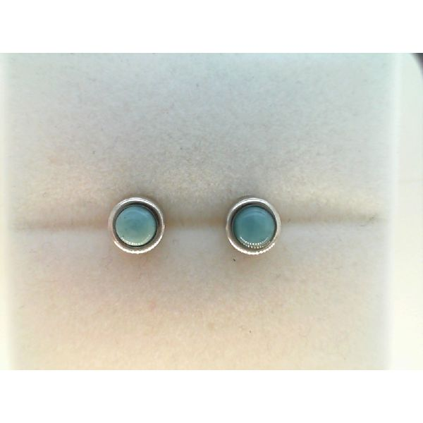 Sterling Silver  6mm Round Larimar Stud Earrings Sanders Diamond Jewelers Pasadena, MD