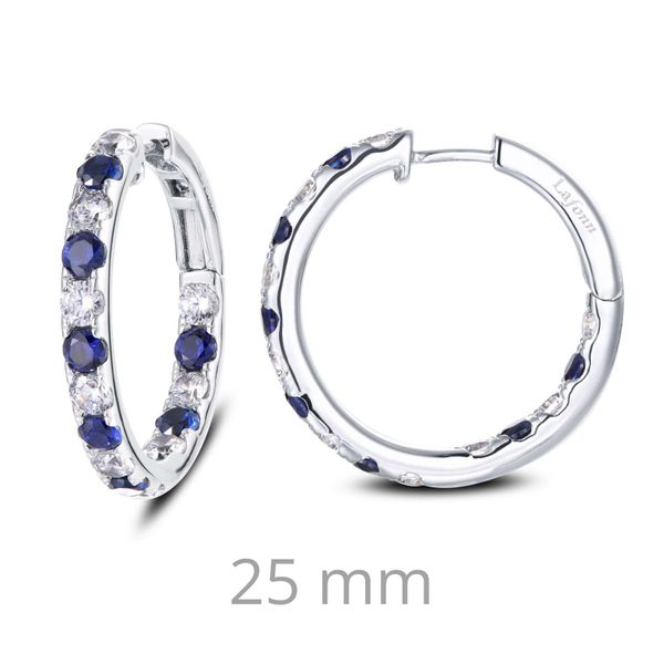 Fun and elegant. These inside out hoop earrings are set with Lafonn's signature Lassaire s and lab-grown sapphires in sterling s Sanders Diamond Jewelers Pasadena, MD
