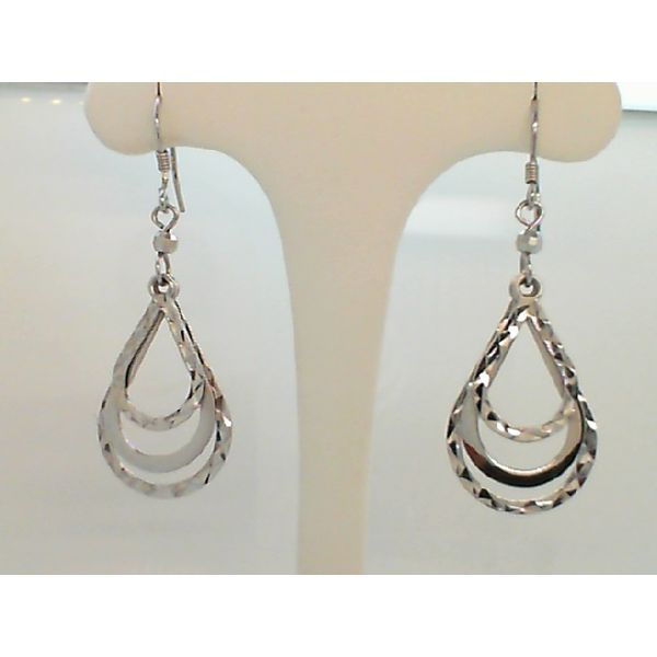 STERLING SILVER DIAMOND CUT TRIPLE TEAR DROP MOVABLE EARRINGS ON FRENCH WIRES Sanders Diamond Jewelers Pasadena, MD