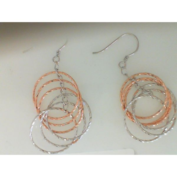 STERLING SILVER WITH ROSE PLATING SPARKLE HOOP EARRINGS ON FRENCH WIRES Sanders Diamond Jewelers Pasadena, MD