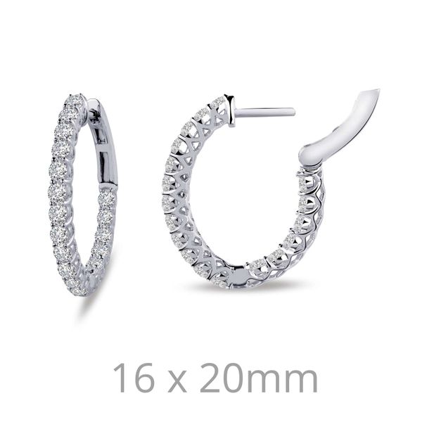 Fun and elegant. These inside out hoop earrings are set with 1.80CTGW Lafonn's signature Lassaire s in sterling silver bonded wi Sanders Diamond Jewelers Pasadena, MD
