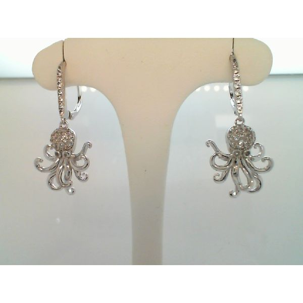 Steling Silver Cubic Zirconia Octopus Earrings With Lever Backs Sanders Diamond Jewelers Pasadena, MD