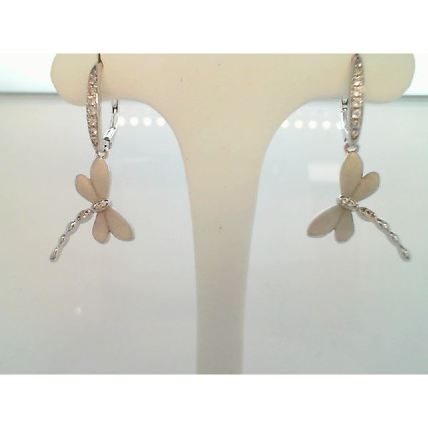 Sterling Silver Cubic Zirconia Dragon Fly Earrings Sanders Diamond Jewelers Pasadena, MD