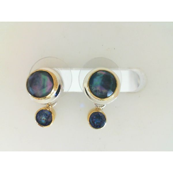 Sterling & 22Ky Vermeil Trendy Solo Topaz, Mother of pearl And Onyx Stud Earrings Image 2 Sanders Diamond Jewelers Pasadena, MD