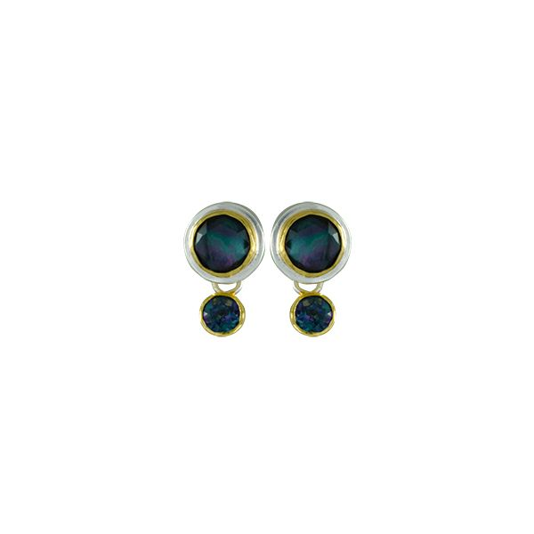 Sterling & 22Ky Vermeil Trendy Solo Topaz, Mother of pearl And Onyx Stud Earrings Sanders Diamond Jewelers Pasadena, MD
