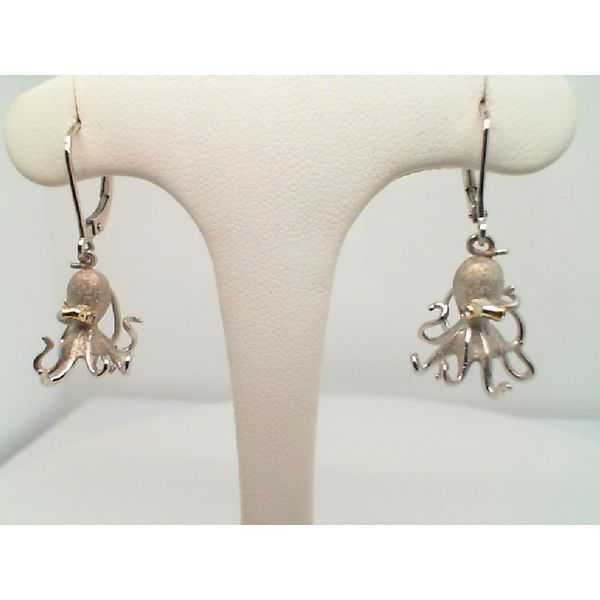 18KT. YELLOW GOLD AND PRECIOUS SILVER  .02CTDW DENNY WONG OCTOPUS LEVER BACK EARRINGS Sanders Diamond Jewelers Pasadena, MD