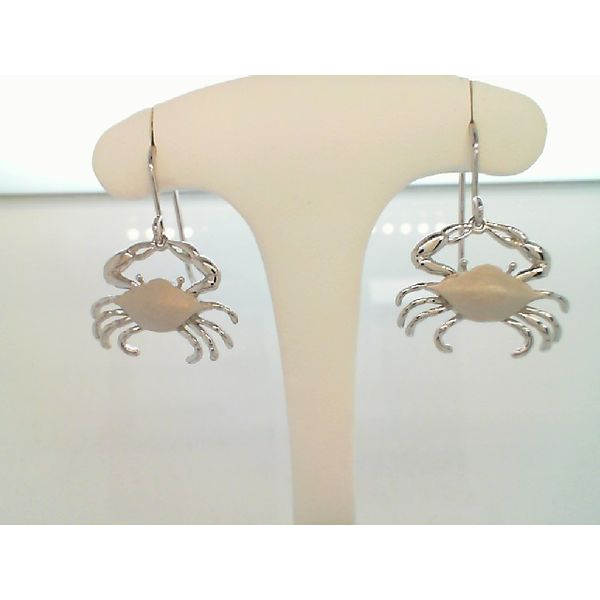 STERLING SILVER MARYLAND BLUE CRAB EARRINGS ON FRENCH WIRES Sanders Diamond Jewelers Pasadena, MD