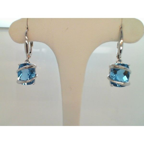 STERLING SILVER FACETED CUSHION CUT SWISS BLUE TOPAZ DROP EARRINGS ON LEVER BACKS Sanders Diamond Jewelers Pasadena, MD