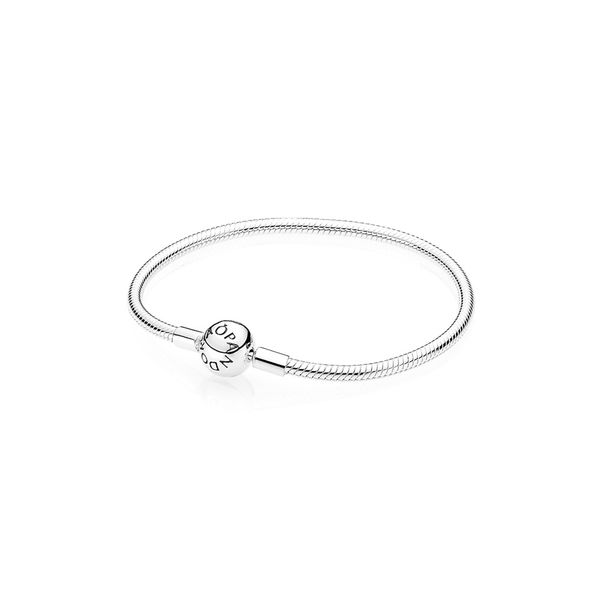 Pandora Sterling Silver Smooth Bracelet with Round Clasp Size 6.7in Sanders Diamond Jewelers Pasadena, MD