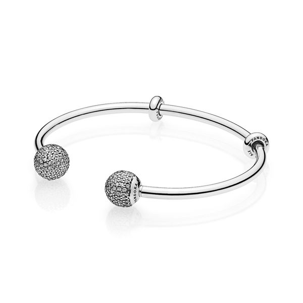 Pandora Open bangle in sterling silver with interchangeable end caps with 254 pave-set clear CZ and stoppers size 8.1in Sanders Diamond Jewelers Pasadena, MD