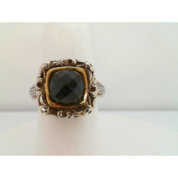 STERLING SILVER AND 18KT YELLOW GOLD 14 DIAMOND=.08CTDW 8/8 BLACK SPINEL AND DIAMOND RING Sanders Diamond Jewelers Pasadena, MD