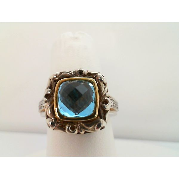 STERLING SILVER AND 18KT YELLOW GOLD  14 DIAMOND=.08CTDW 8/8 SWISS BLUE TOPAZ RING Sanders Diamond Jewelers Pasadena, MD