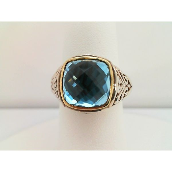 18KT YELLOW GOLD AND SS 10X10 CUSHION CUT BLUE TOPAZ RING Sanders Diamond Jewelers Pasadena, MD