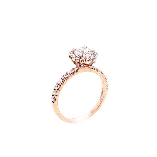 18K Rose Gold Diamond Halo Engagement Ring (1.16ctw) Image 2 Saxon's Fine Jewelers Bend, OR