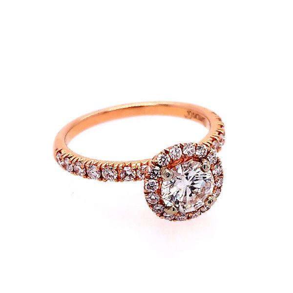 18K Rose Gold Diamond Halo Engagement Ring (1.16ctw) Saxon's Fine Jewelers Bend, OR