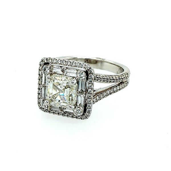 Simon G 18 Karat White Gold Asscher Cut Ring 2.77ctw Saxons Fine Jewelers Bend, OR