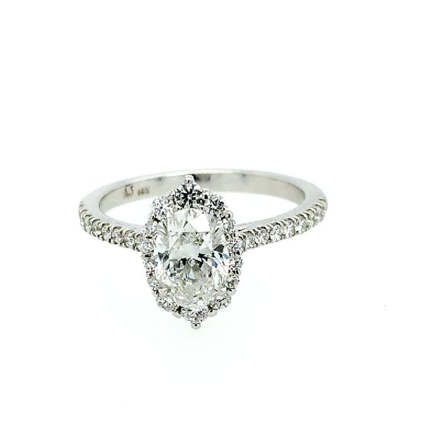 White Gold Oval Diamond Halo Engagement Ring Saxon's Fine Jewelers Bend, OR
