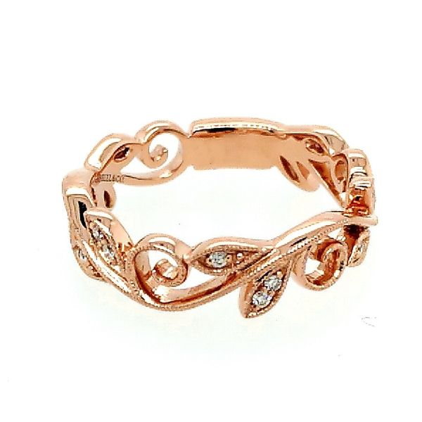 Gabriel & Co. 14K Rose Gold Scrolling Floral Diamond Ring (0.09ct) Saxons Fine Jewelers Bend, OR