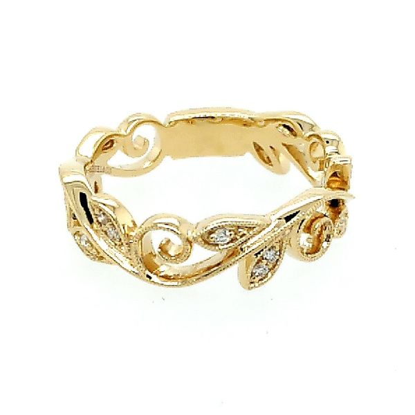 Gabriel & Co. 14K Yellow Gold Scrolling Floral Diamond Ring (0.09ct) Saxon's Fine Jewelers Bend, OR