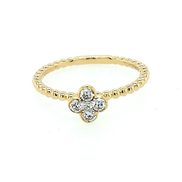 14K Yellow Gold Diamond Cluster Clover and Bujukan Bead Ring (0.20ct) Saxon's Fine Jewelers Bend, OR