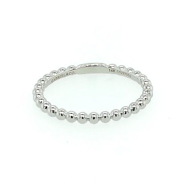 Gabriel & Co. 14K White Gold Bujukan Beaded Stackable Ring Saxons Fine Jewelers Bend, OR